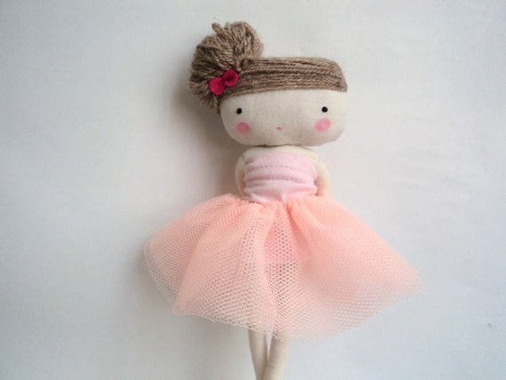 Ballerina rag doll - plush toy cloth art doll ballerina in pink tutu dancer  ballet made to order