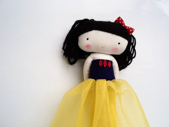 snow white rag doll - fairy tale princess cloth doll art cloth doll with crochet apple made to order