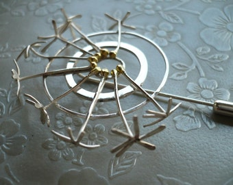 Dandelion Clock Brooch. A One of a Kind, Nature Inspired Brooch in Sterling Silver and 18ct Gold by Kirsty O'Donnell