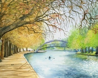 Art Print, 'Bedford river in the fall', wall art, landscape, greens, oranges, autumn, painting, 16x12 ready to frame