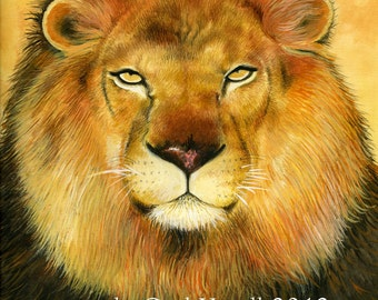 Lion watercolour painting print, realistic watercolour painting, animal art, golden, ochres, orange, lion painting