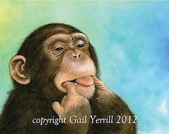 "NEW. Beautiful monkey watercolour painting print, size 12""x16"", turquoise, blues, greens, 'Monkeying Around'"