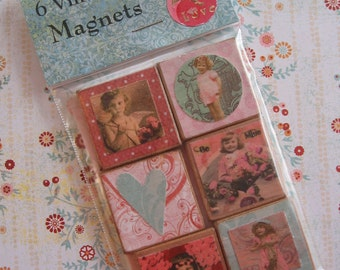 Set of Six Vintage Style Square CHERUB Wooden Magnets