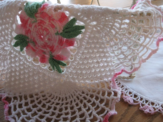 Two Perfectly Beautiful Pink and White Crocheted Doilies