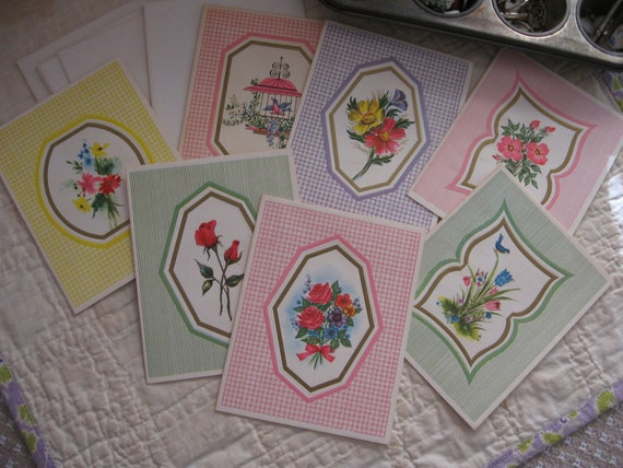 Lot of 7 Sweet Vintage Get Well Cards with Flowers