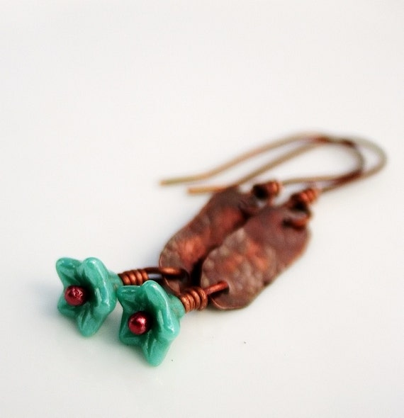Rustic copper earrings with blue flowers