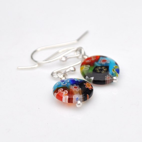 Thousand flowers sterling silver earrings with millefiori beads