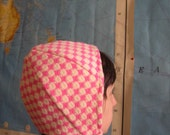Pink and Cream Houndstooth Helmet Hat, with Chin Strap