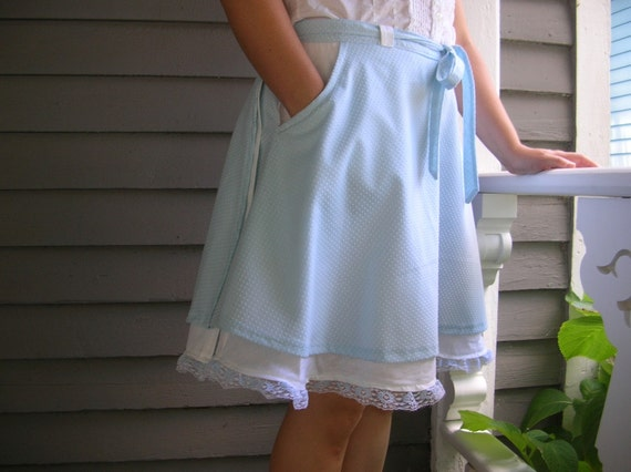 Dainty Blue and White Polka Dot, Wrap Around Skirt, Lace and Pockets, sizes 6-10