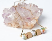 Brass Cube and Multi Color Textured Stone Necklace on Raw Brass Pressed Cable Chain