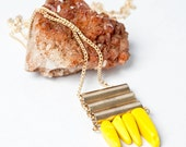 Bright Yellow Swirl Recycled Sea Glass Beads with Brass Cylinders on 14kt Gold Filled Cable Chain