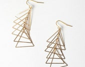 Gold Triangle Ladder Earrings