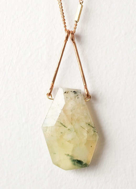 Lime Prenite Stone Pendent with Gold Plated Curb Chain (LAST ONE)