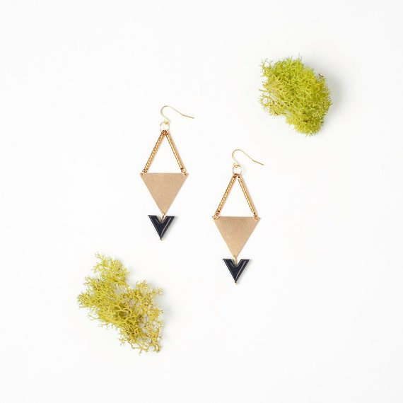 Geometric Style Earrings Featuring Gold Triangle and Onyx Black Arrows (LAST SET)