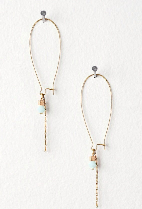Subtle Light Blue Crystal and Gold Chain Earrings