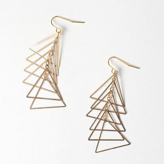 Gold Triangle Ladder Earrings