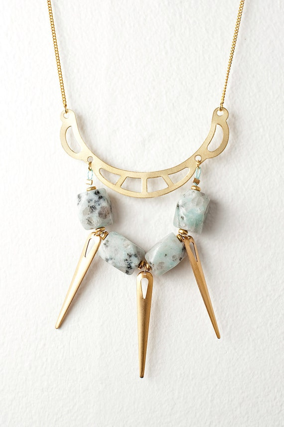Bold Gold Statement Necklace with Mint Dalmatian Jasper and Gold Spikes - Last One