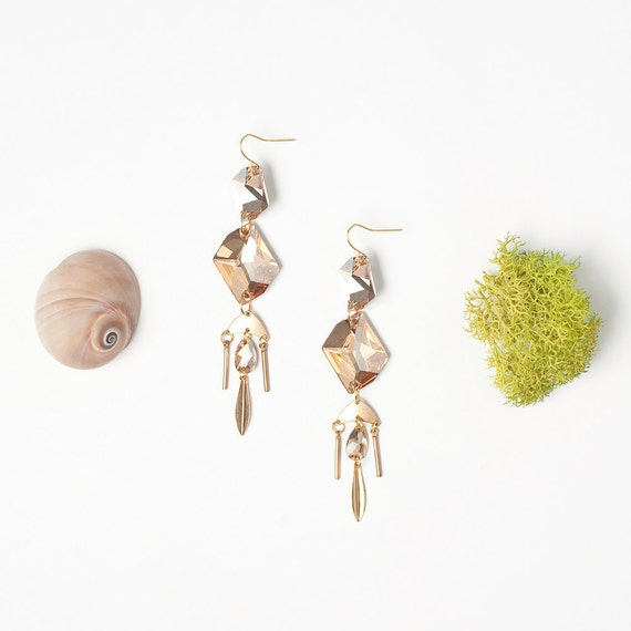 SALE - Powder Pink Crystal Earrings with Gold Accents
