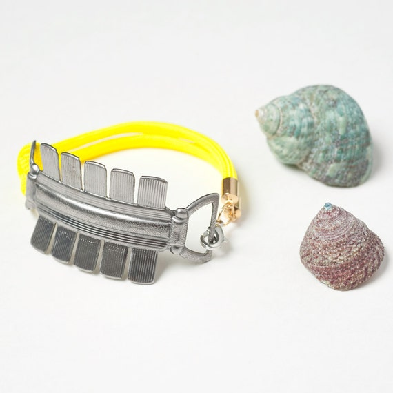 Silver Tribal Cuff with Neon Yellow Nylon - Last One