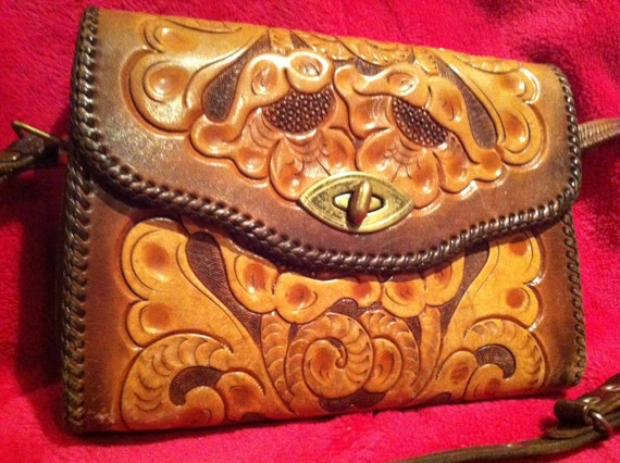 FREE SHIPPING Vintage Hand-Tooled Leather Bag