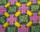 Yellow Pink Green buttons African wax print batik fabric BY THE YARD 100% cotton