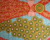 Circles and bows African wax print batik fabric BY THE YARD 100% cotton