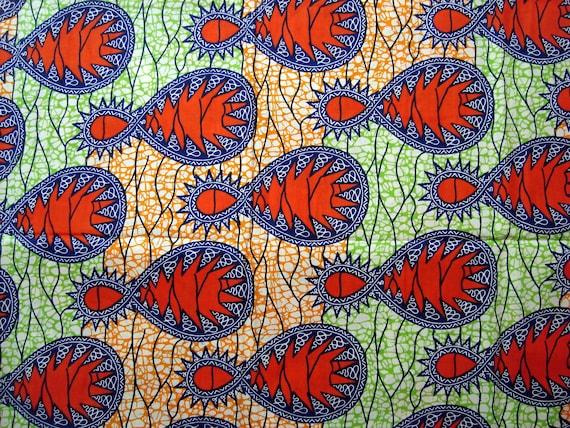 Blue Orange Green loop African wax print batik fabric BY THE YARD 100% cotton