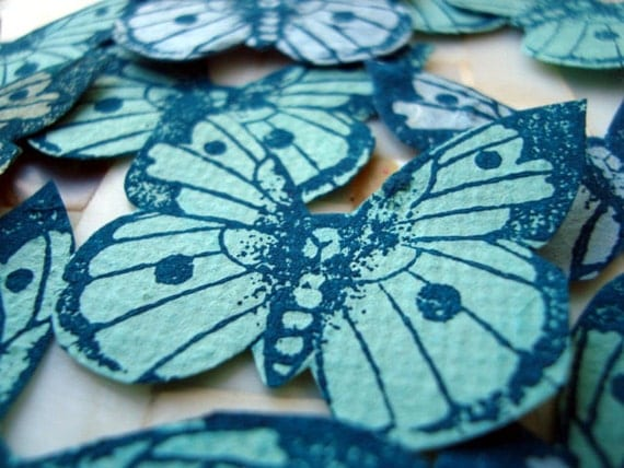 hand stamped, hand cut paper butterflies  x 24...................................number 5