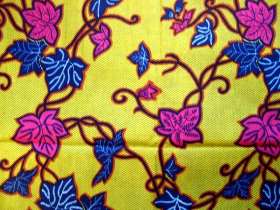 Blue and Pink nature African wax print batik fabric BY THE YARD 100% cotton.