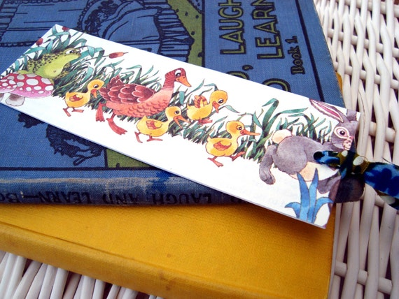 Book mark, vintage recycled children's illustration. Animal Parade