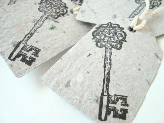 Gift Tag, Wedding favour,Antique Key, handmade paper recycled, hand printed x 10