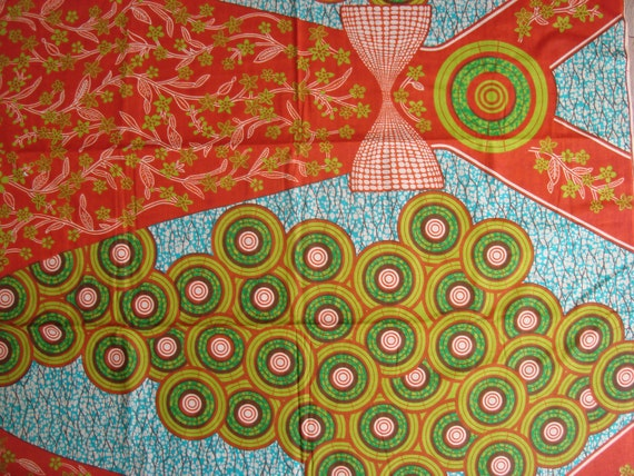 Circles and bows African wax print batik fabric BY THE YARD 100% cotton
