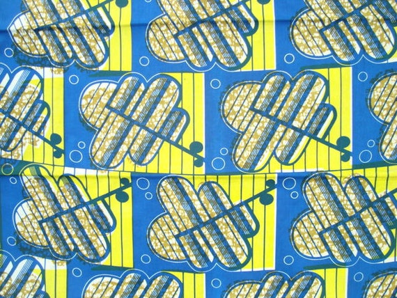 Yellow and blue abstact African wax print batik fabric BY THE YARD 100% cotton.