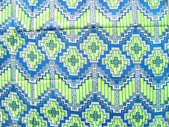 Green and Blue aztec African wax print batik fabric BY THE YARD 100% cotton.