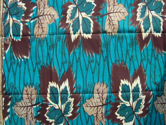 Peacock Green/Blue large leaves African wax print batik fabric BY THE YARD 100% cotton