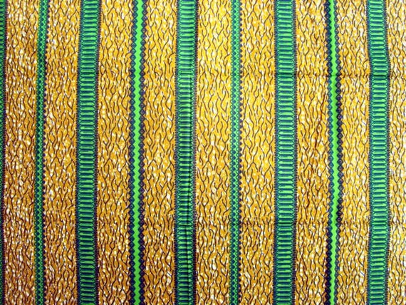 Green stripe African wax print batik fabric BY THE YARD 100% cotton