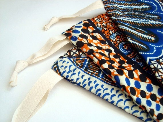 re-usable gift bag, pouch, drawstring bag, toy tidy made from African wax print 'fat quarter bag' x 3