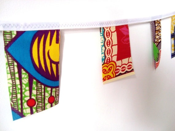 Party bunting African wax print garland 3 yards