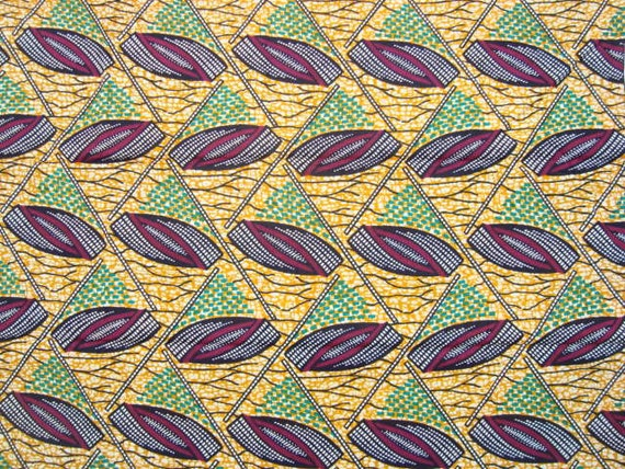 Orange, Green and Purple corn nature African wax print batik fabric BY THE YARD 100% cotton.