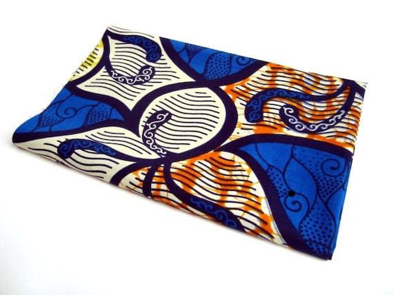 African wax print fat quarter 100% cotton (Blue and Orange ivy)