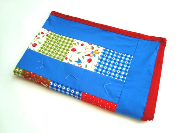 Wee folk Moda fabric patchwork quilt. Gnomes and mushrooms
