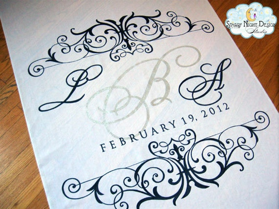 Monogram Wedding Aisle Runner in Real Fabric that Won't Rip or Tear