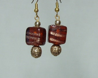 Brown and Gold Sparkle Cube Dangle Earrings