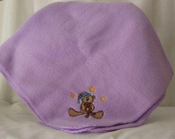 Embroidered Bear Fleece Baby Blanket
