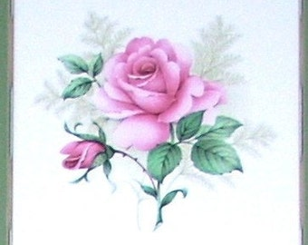 Claremont Pink Rose Ceramic Tile Accent Mural 4.25 inch size Handmade