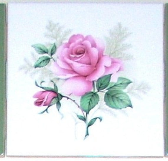 Claremont Pink Rose Ceramic Tile Accent By Mottlesmuralstiles