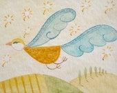Fantasy  flying bird -  original watercolor ACEO painting - Bird n.1