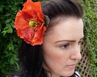 Orange Poppy Hair Clip
