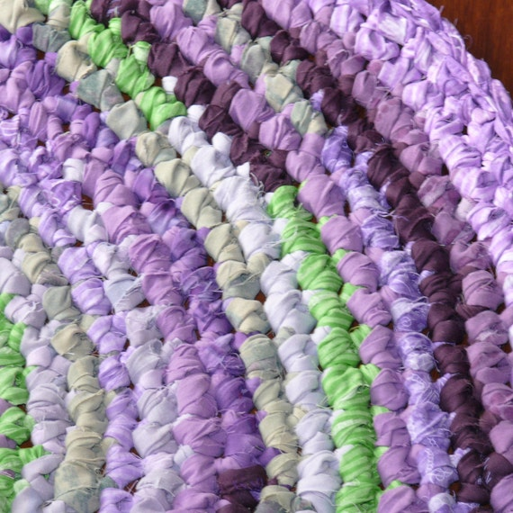 Crocheted Oval Rag Rug Hyacinth Purples And Greens