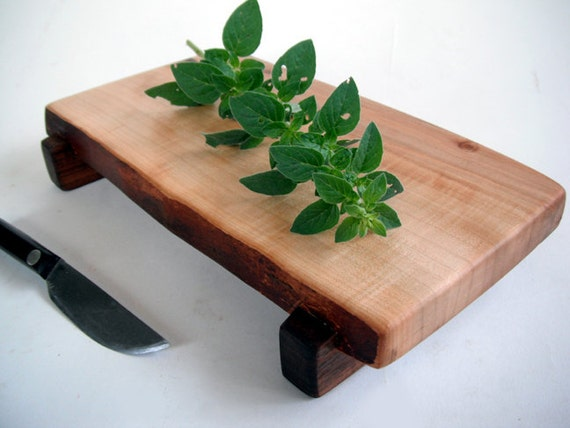 raised natural live edged silver maple cutting board/serving board